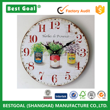 Nostalgic tin pots painted wood wall clock home fashion electronic clock