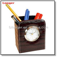 New arrival pencil pen holder leather pencil holder with alarm clock for hotel desktop