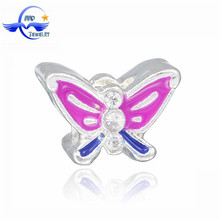 New Designs Fashion Purple Butterfly Charm Custom Large Hole Beads Jewelry Wholesale Dropship