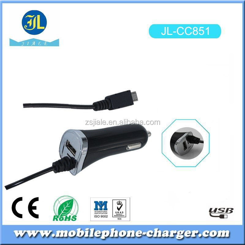 5pin USB coiled cable car charger 5V 1A 1000mA output fast charging range with 6FT cable