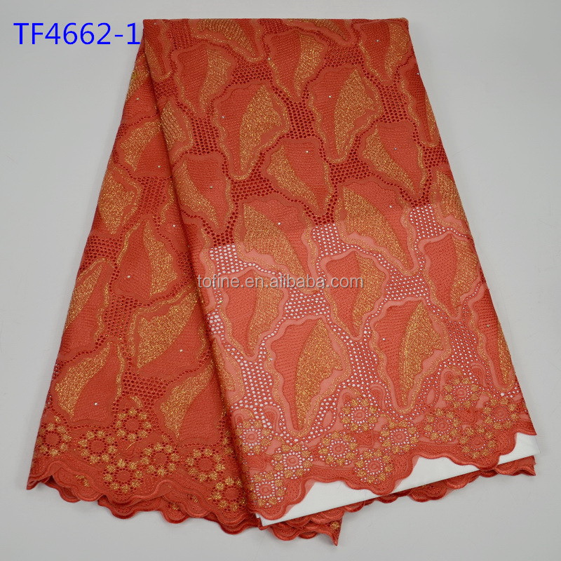 Graceful coral 100% cotton swiss voile lace fabric for wedding dress lace