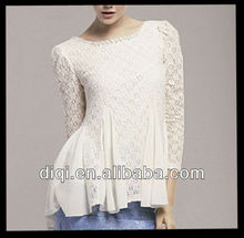2013 casual new fashion lace blouse designs,lady blouse