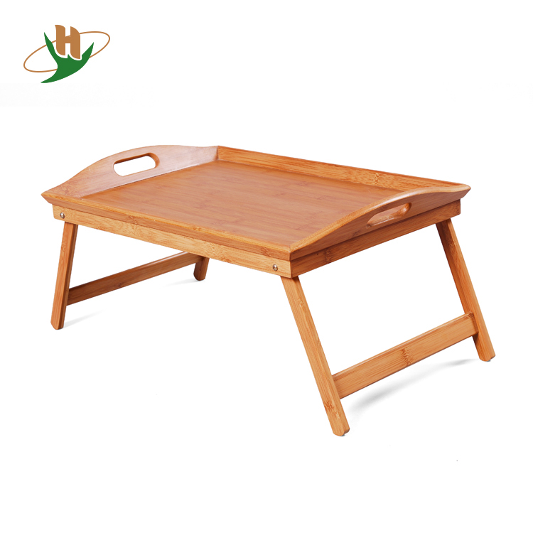 Preminum bamboo wooden breakfast bed serving tray with foldable legs
