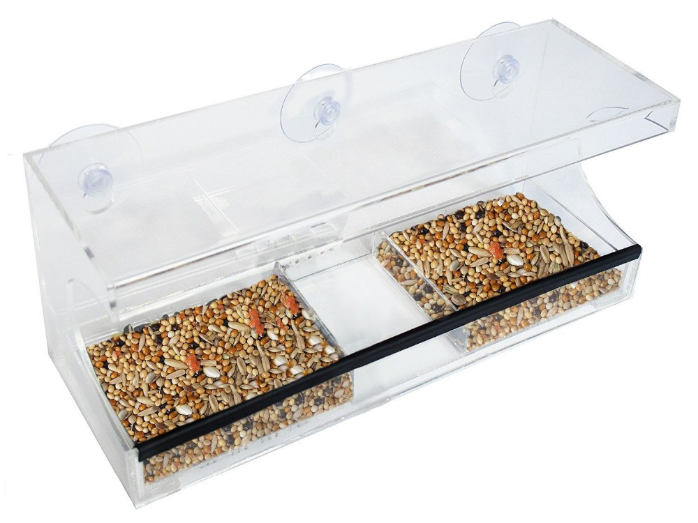 Acrylic Window Bird Feeder with Removable Tray