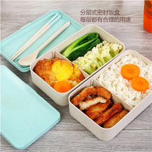 Customized Logo Leak Proof Biodegradable Wheat Straw Bento Lunch Box