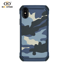Camouflage shockproof for iphone X pu leather case case cover manufacture in china