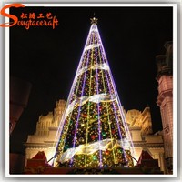Guangzhou supplier wholesale types of led light snowing christmas tree large needle pine trees outdoor with metal stand