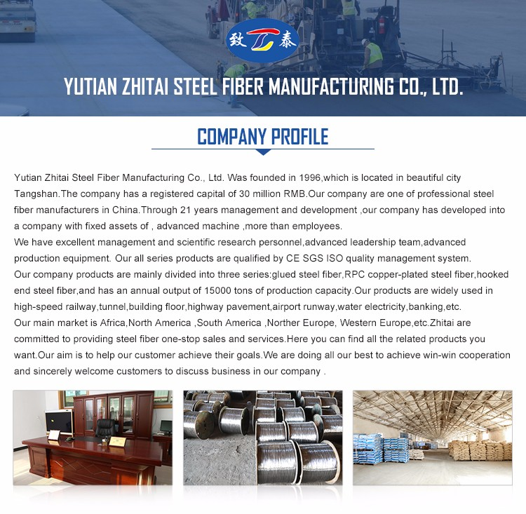 Tensile Strength Smooth Finishing Durable Long Lasting Carbon Steel Fibers For Reinforcing Concrete