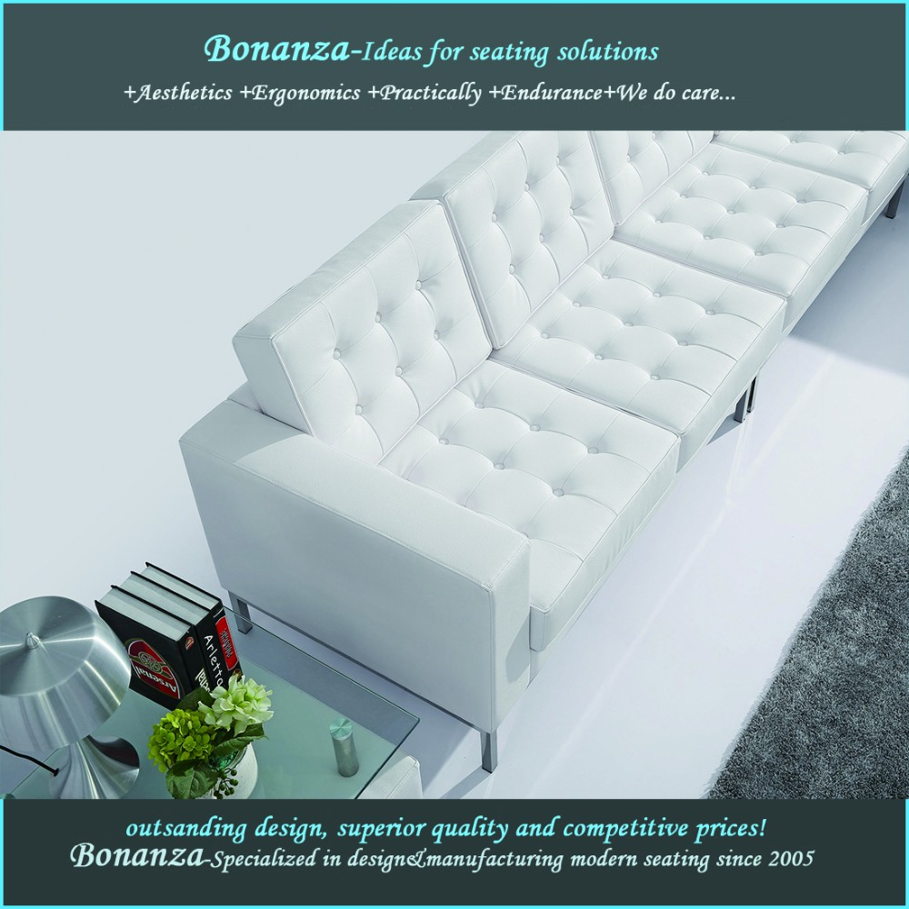 Florence knoll replica mordern sofa white leather furniture
