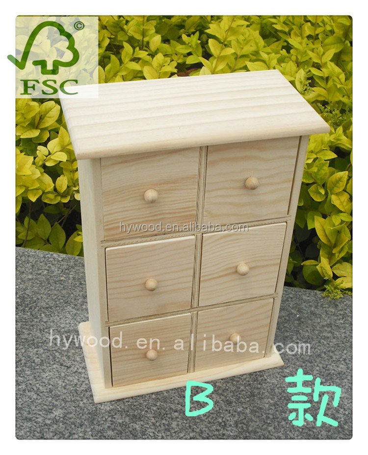 wooden mini drawer cabinet