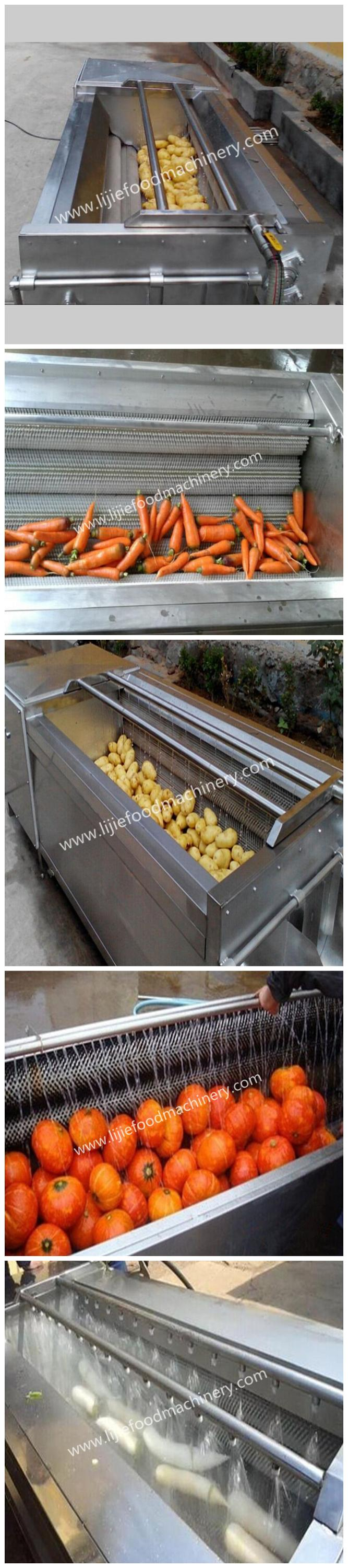Brush Type Root Carrot Vegetable Washing Peeling Machine