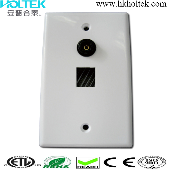 Toslink Wallplate with Toslink Adapter and Single Keystong Port