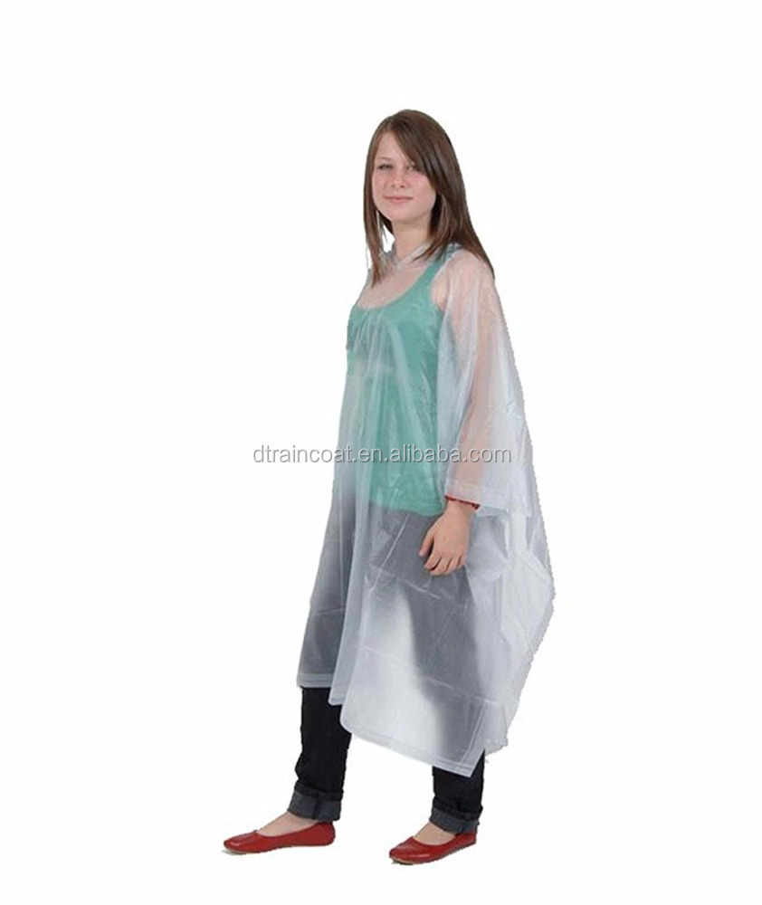 Adult Waterproof PE transparent Disposable Rain Poncho With Hood