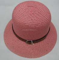 Ladies fashion beach straw cloche hats wiht flowers and the belt
