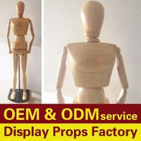 Wooden mannequin for shop window display, Articulated dummy mannequin
