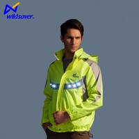 custom LED flashing hooded motorcycle jacket men