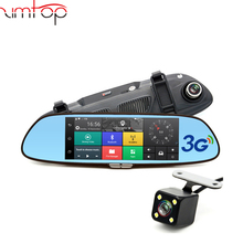 "Dual Lens FHD 1080P Recorder Automobile Dash cam 7""3G Car DVR Rearview Mirror camera Android 5.0 GPS Navigation wifi"