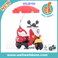 2016 New kids ride on car 6v battery powered, with music and light, power dispaly child motorcycle, with umbrella WDJB183