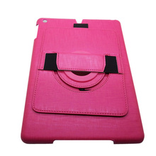 Pink 360 degree rotating leather case for ipad air