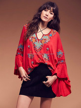 Wholesale Women blouses tops boho Cotton long sleeve embroidery floral V-neck tassel loose fit clothing