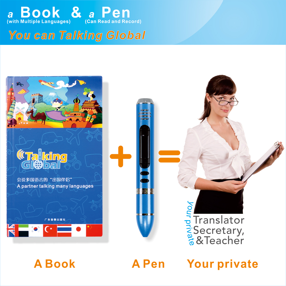 Education learning books growing up with talking pen, language learning pen and book customized language and content