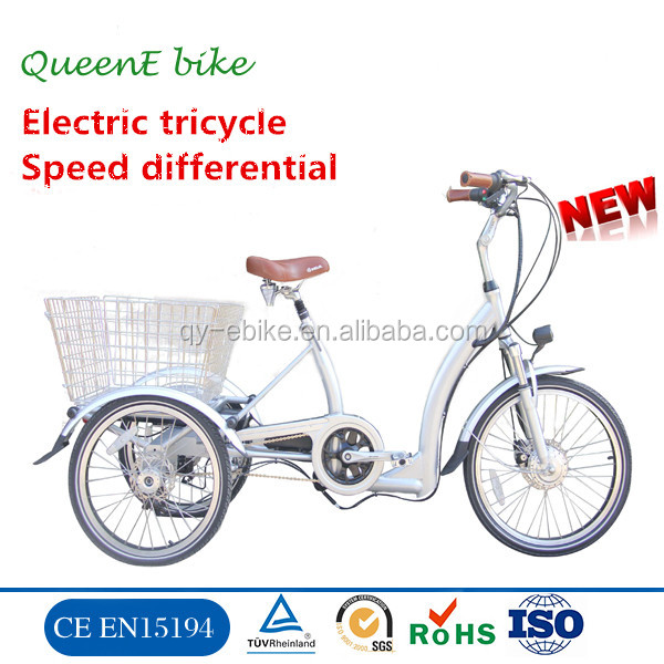pedal assisted electric cargo tricycle with suspension fork 3 wheel bicycle for elderly