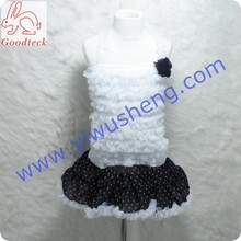 baby white chiffon fluffy tank top,baby clothes,Colorful Nylon Chiffon Fluffy Pettiskirt And Ruffles Tank Top