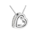 Fashion Heart-shaped White Crystal Pendant Necklace