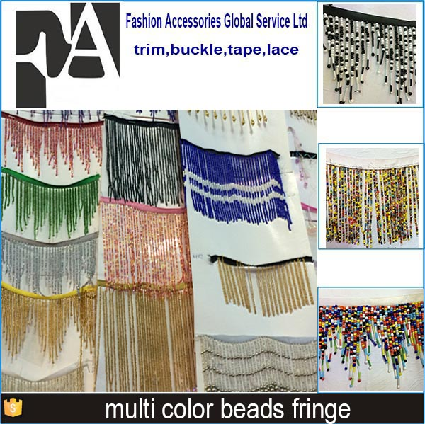 World trims coloful beaded fringe trim for curtain FRG036