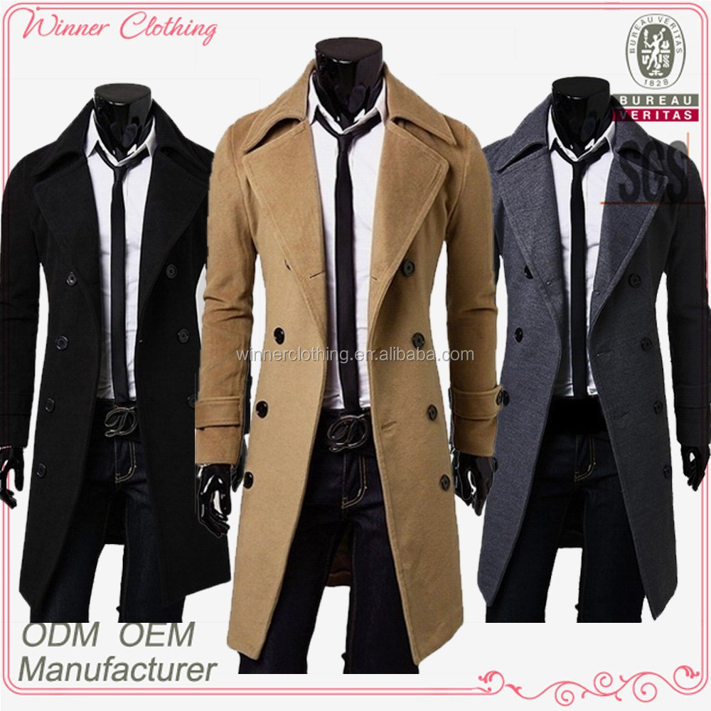 2017 2018 Classic polyester knee length warm winter long mens trench coat