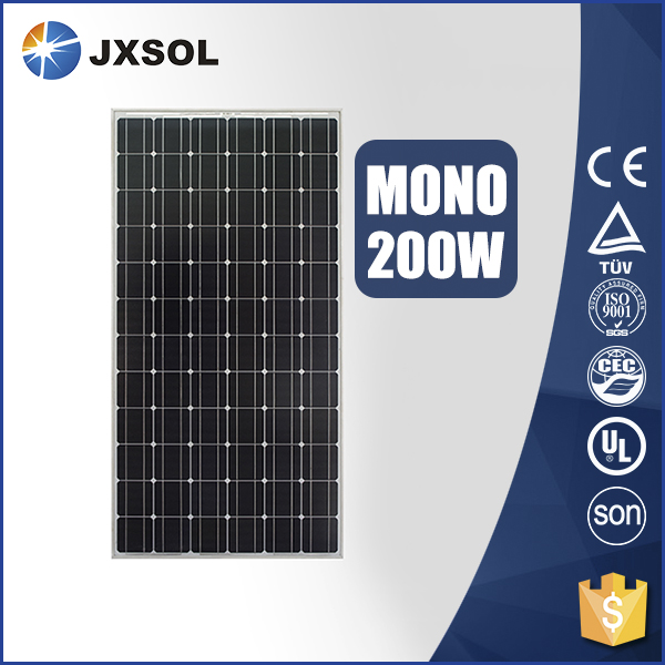 High efficiency monocrystalline photovoltaic cell solar panels 200 watt with TUV and CE certificates
