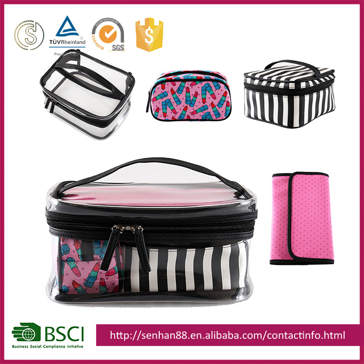 Professional branded cosmetic makeup travel case with handle