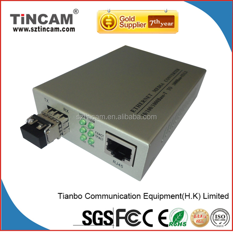 10/100/1000M 1310/1550nm Single Mode Single Fiber WDM Bidirectional 25km Fiber Optic to RJ45 Media Converter