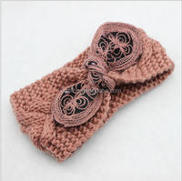 wool bow headband knitted for girls, bow knitted winter headband
