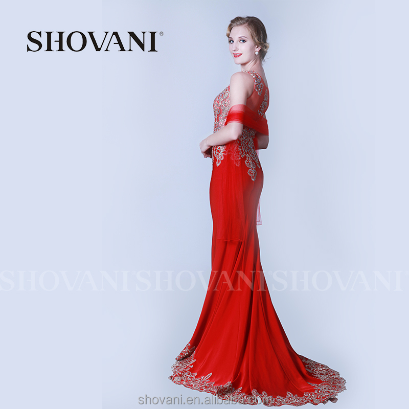 SHOVANI Latest dress designs photos red classic lace wedding dresses for girls