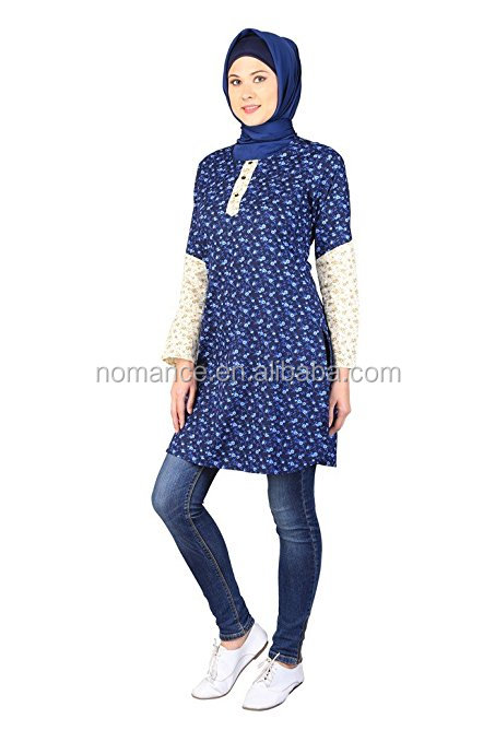 Women Modest Loose Fit Long Sleeve Casual Ethnic Style Printed Tunics Shirts Dress TWIN SLEEVE PRINT TUNIC