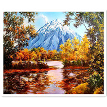 Snow mountain beautiful natural scenery Diamond Painting