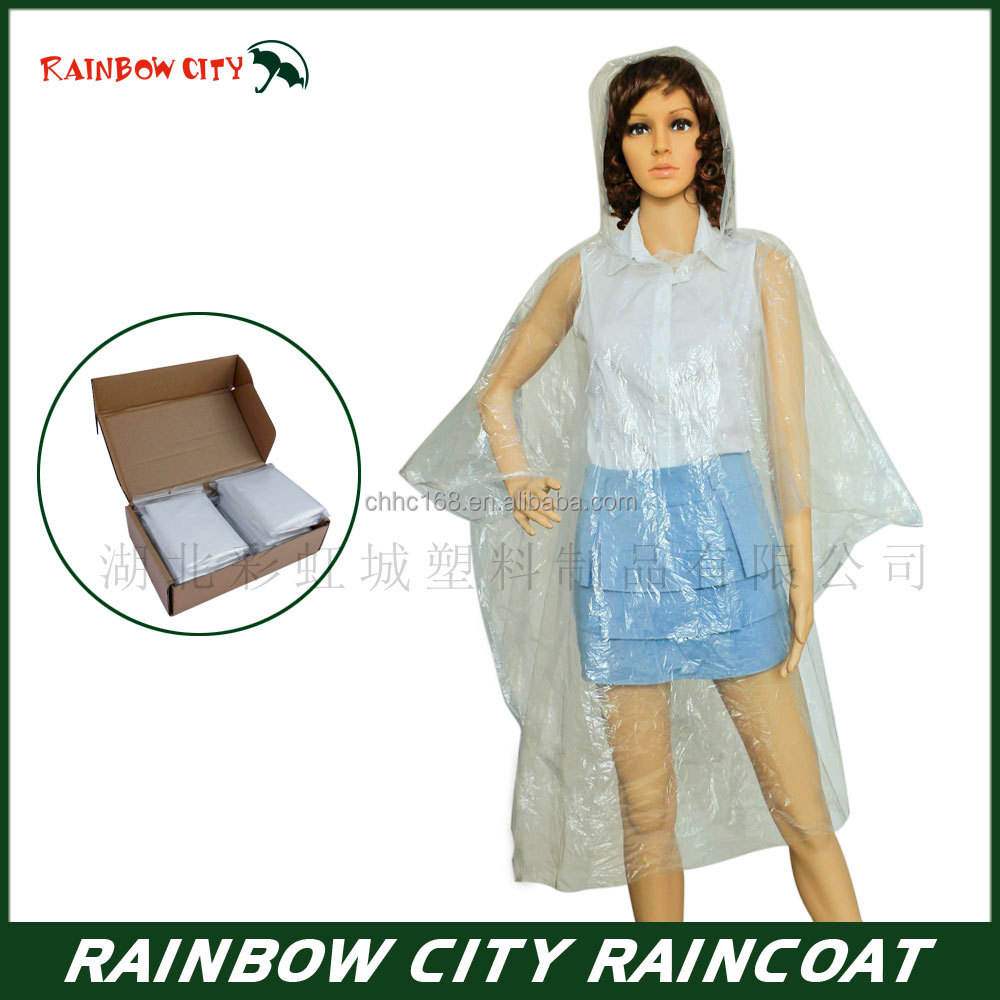 Custom good quality new material transparent disposable rain poncho