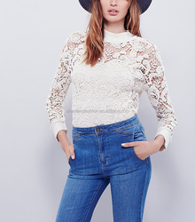 Ribbed trim and scalloped hem sheer crochet lace pullover top,long sleeve lace top