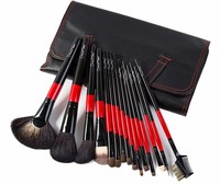 Top Grade Goat Animal Hair 15 pcs Professional Makeup Brushes Set Tools Eye shadow Brush with PU Leather Case Beauty Make up Kit