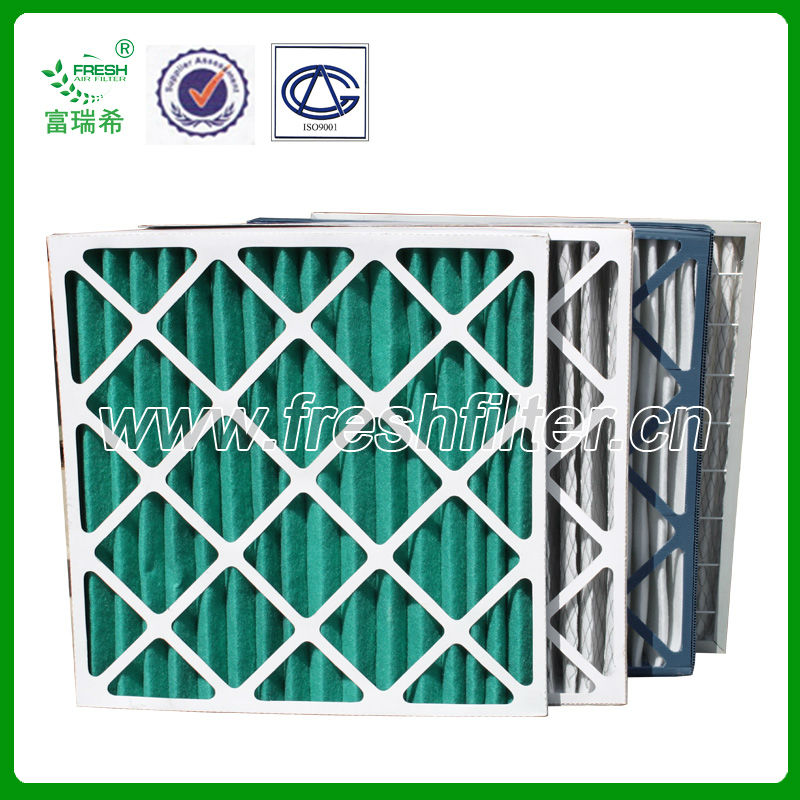Carboard frame air filter used in air filter system