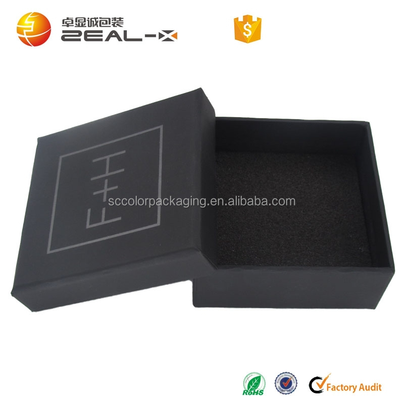 China Alibaba top supplier reliable quality rational design black luxury UV key chain packaging box with lid
