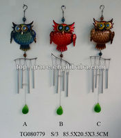 Home ornaments wind chime,garden metal decoration ,owl wind bell