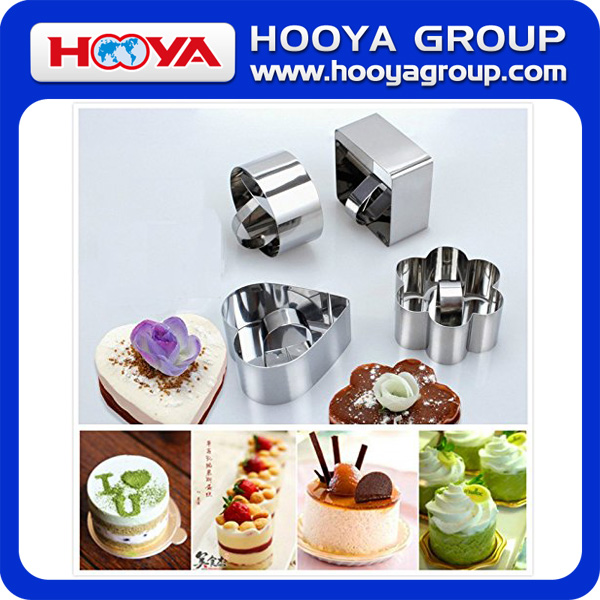 5PCS Stainless Steel Mousses Cake Mold Cutters Cake Ring Square Dessert Mousse Mold with Pusher & Lifter Cooking Rings