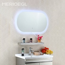 Promotion price home mirror furniture oval led illuminated mirror for bathroom