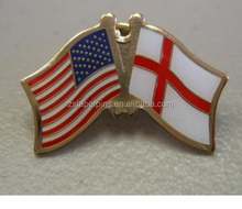 Custom design high quality cloisonne hard enamel filled USA England St George Cross World Flag Lapel Pin