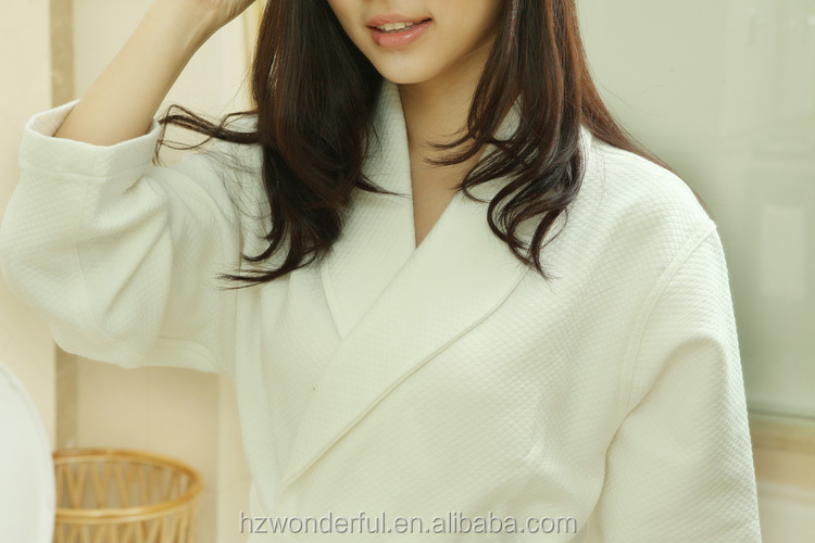 white shawl collar modal cotton bathrobe