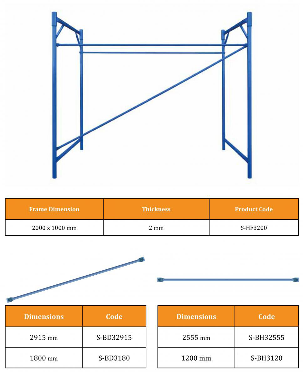 TSX-17-AF2003 Best selling hot dip galvanized products a frame scaffolding