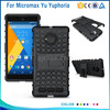 hot selling pc+tpu Hybrid Kickstand mobile phone Case for micromax Yu Yuphoria,heavy duty Back Cover for micromax Yu Yuphoria