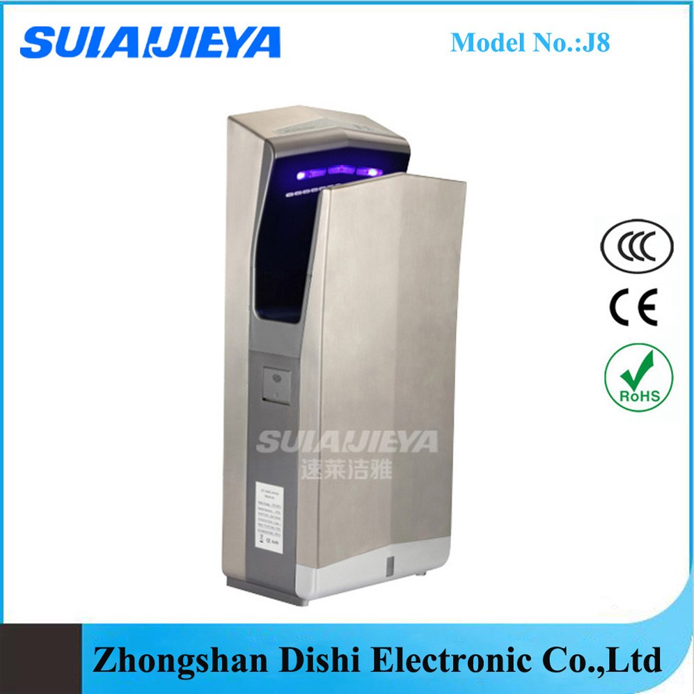 washroom hygiene wall mounted dual jet air hand dryer stainless steel